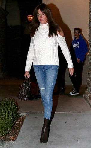 Caitlyn in denims and white intermix sweater