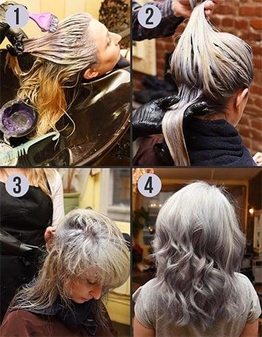 Dyed gray hair dye