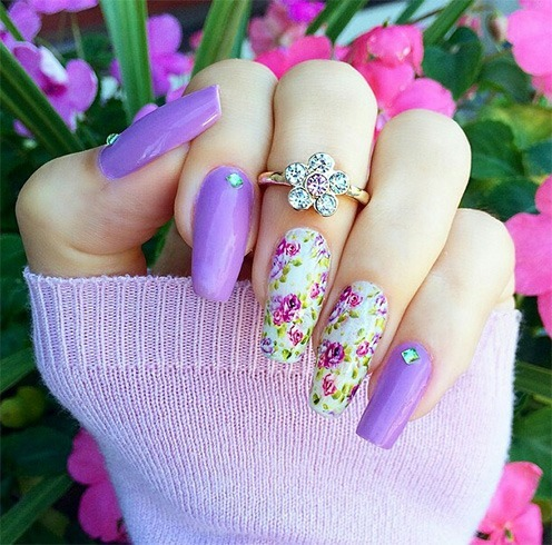 Floral Pattern Ballerina Nails