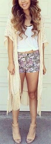 Floral Shorts and Kimono