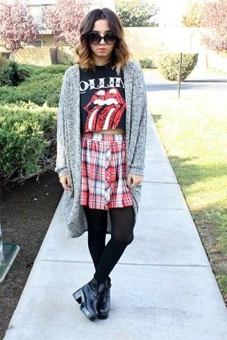 Funky tops with tartan skirt