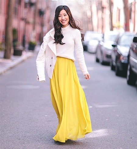 how to wear long skirts if you're short