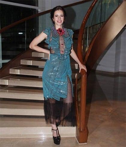 Kalki Koechlin in Gucci blue sheer dress