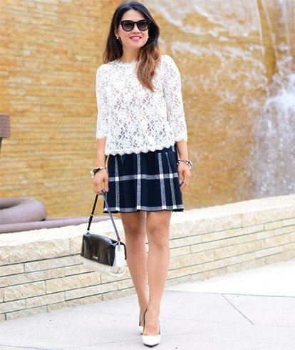 Lace top with plaid skirt