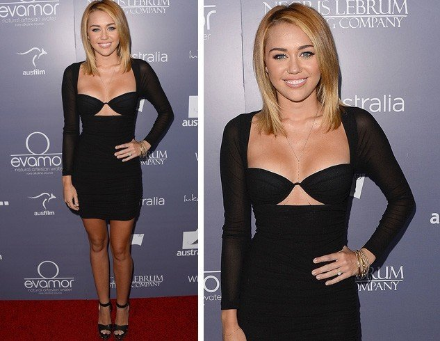 Miley Cyrus in Black Cut Out Dress