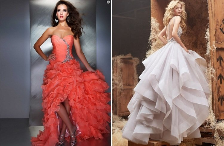 Ruffled gowns for wedding
