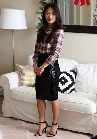 how to wear sequin skirt in winter