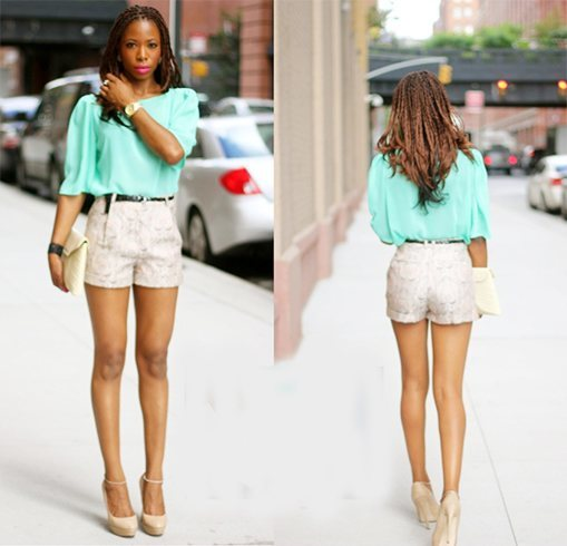 shorts and heels look