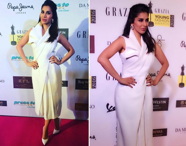 Sophie Choudry in Tanieya Khanuja white dress