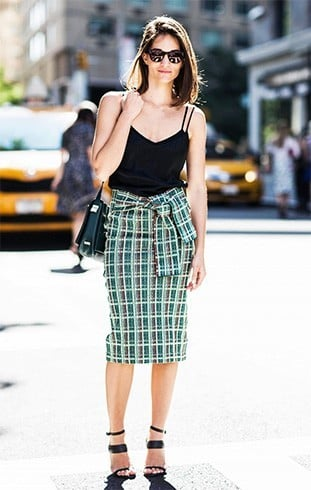 What To Wear With Green Plaid Skirt