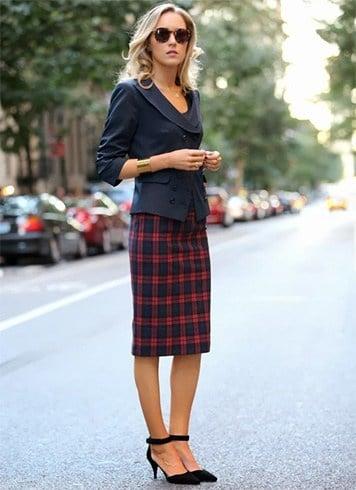 Tartan skirt with blazer
