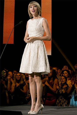 Taylor Swift In White Dress