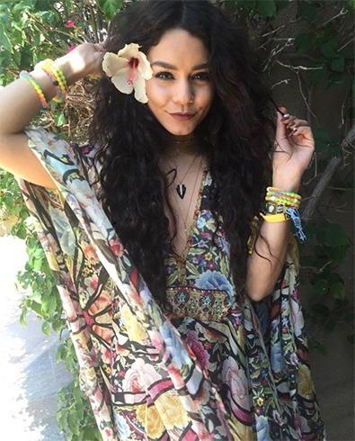 Vanessa Hudgens in Floral Kaftan Dress