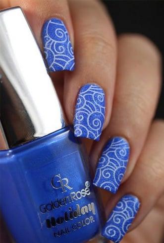 Abstract Blue Nail Design