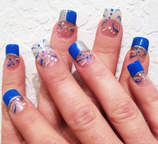 Blue Acrylic Nail Design