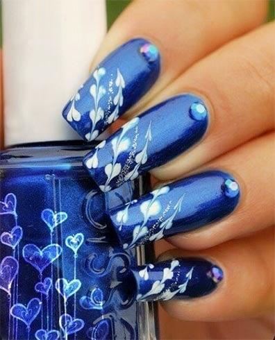 Blue Nail Art For Short Nails