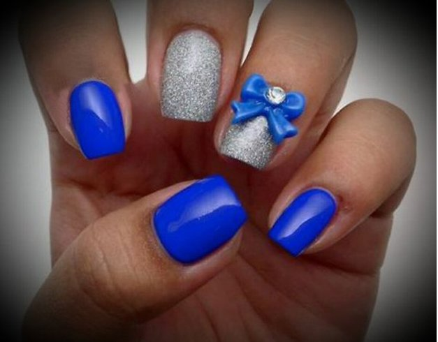 Blue Nail Design For Wedding