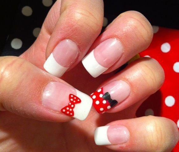 Easy Minnie Mouse Nail Design