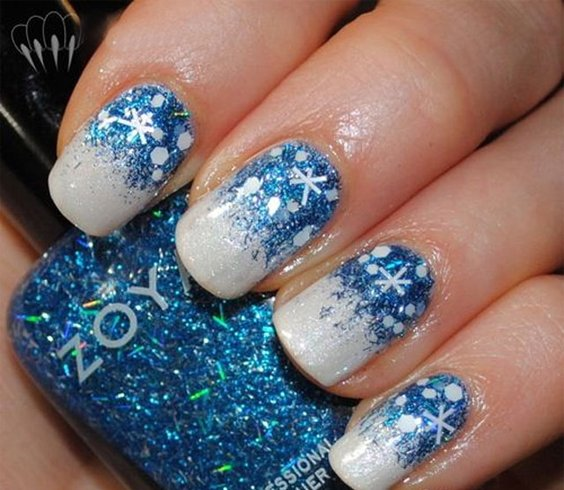 Glittery Blue Christmas Nail Art