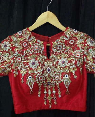 Red Blouse With Maggam Work