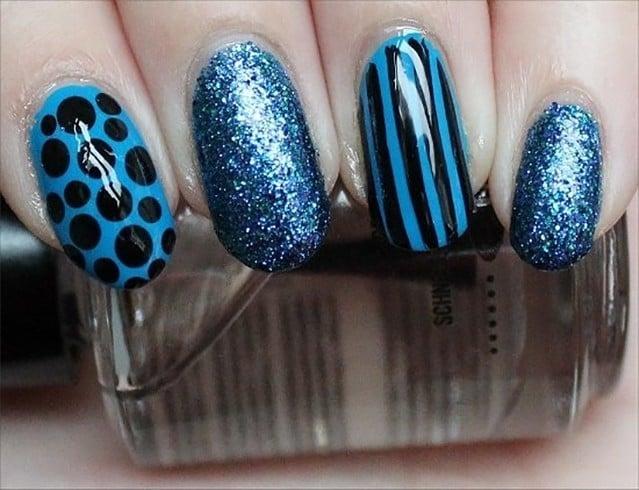 Blue Nail Art for Long Nails