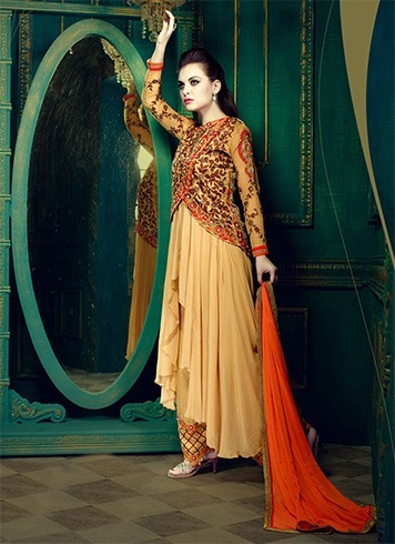 Jacketed anarkalis with neutral toned straight pants
