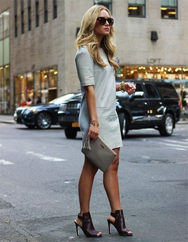 Long blue dress with mules