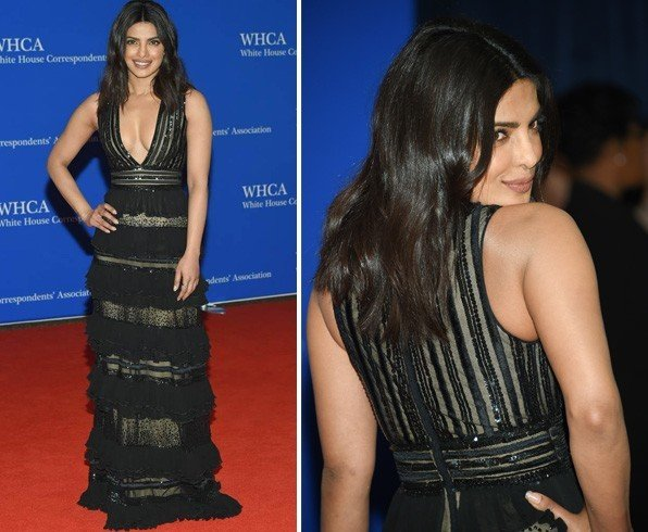 Priyanka Chopra in sheer panelled gown