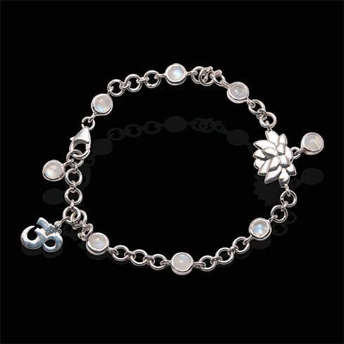 Rainbow Moonstone Lotus Charm bracelet