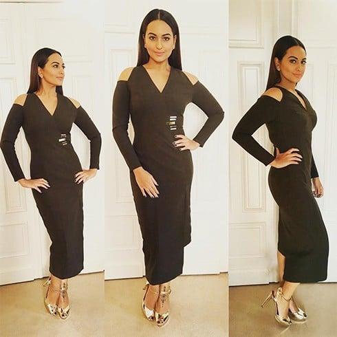 Sonakshi Sinha in Cold Shoulder Dress