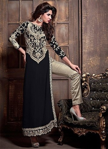 Straight pants with embellished asymmetrical kurtas