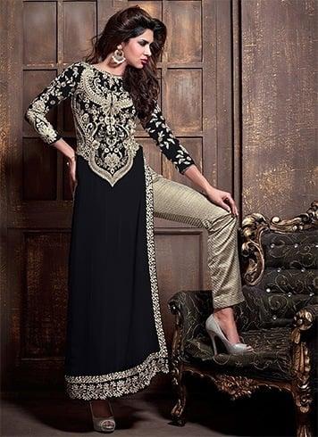Straight pants with embellished asymmetrical kurtas