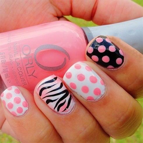 Zebra Nails With Polka Dots