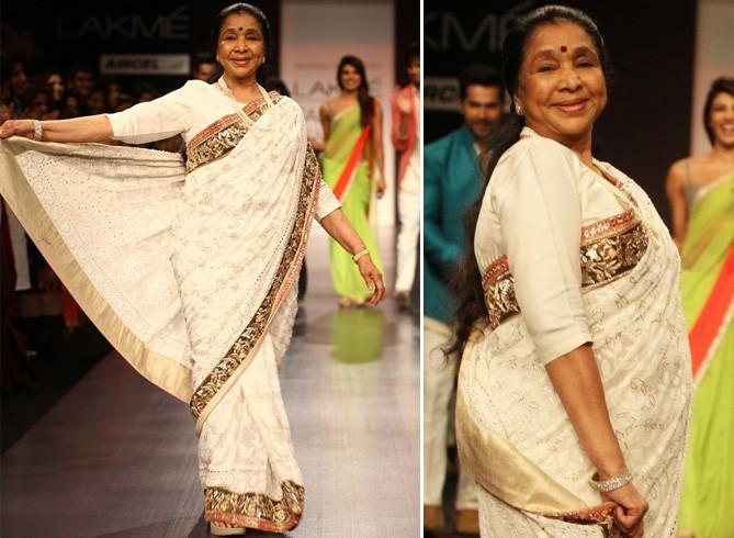 Asha Bhosle In Chikankari