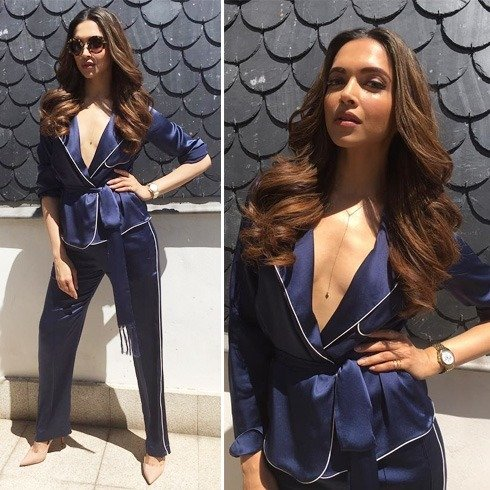Deepika In Chloe blue satin pant suit