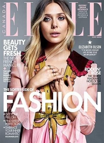 Elisabeth Olsen On Elle Canada June 2016 Magazine
