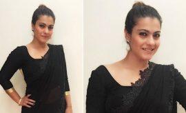 Kajol In Black Manish Malhotra Saree