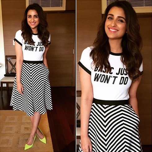 Parineeti Chopra in HM top and Madison skirt