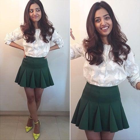 Radhika Apte in House of Masaba shirt and Asos skirt