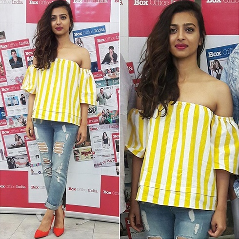 Radhika Apte in Madison yellow and white striped top