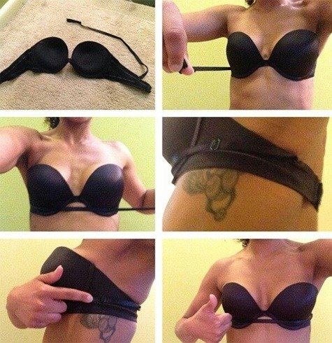 Ways to keep strapless bras from fallin