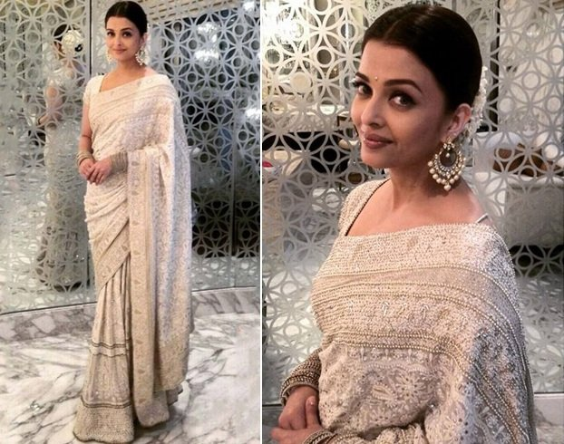 Aishwarya Rai in a white saree
