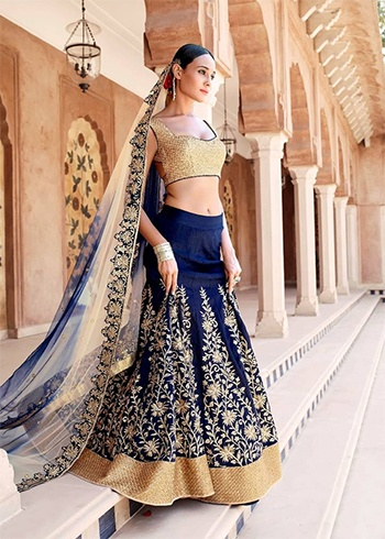 Blue Golden Lehenga Saree
