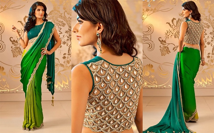 Green Designer Blouse Lehenga Saree