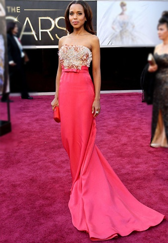 Kerry Washington In Miu Miu Coral Gown