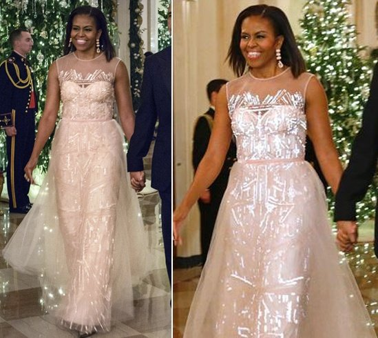 Michelle Obama In Monique Lhuillier