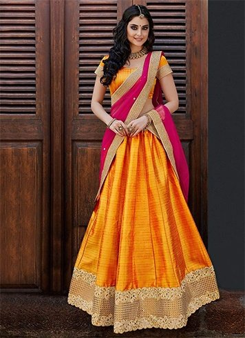 Orange Pink Lehenga Saree