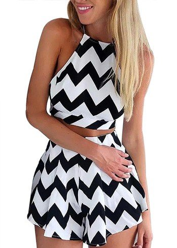 Black And White Semi Sheer Wave Print Coords