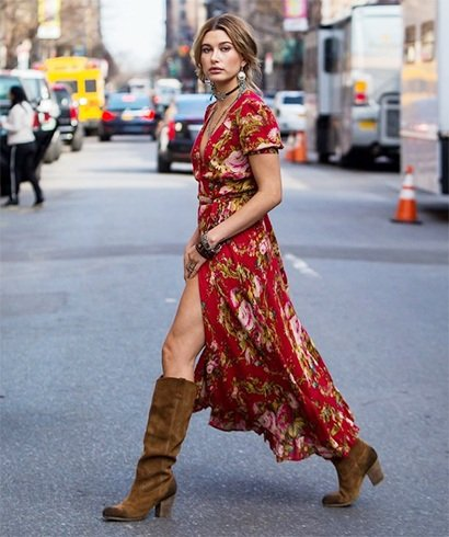 Hailey Baldwin knee high suede boots