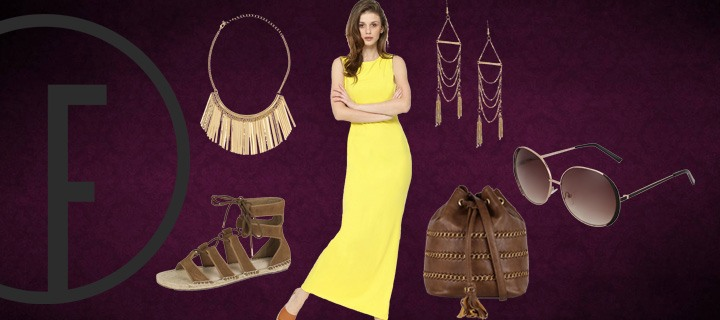 How To Accessorize a Yellow Maxi Dress